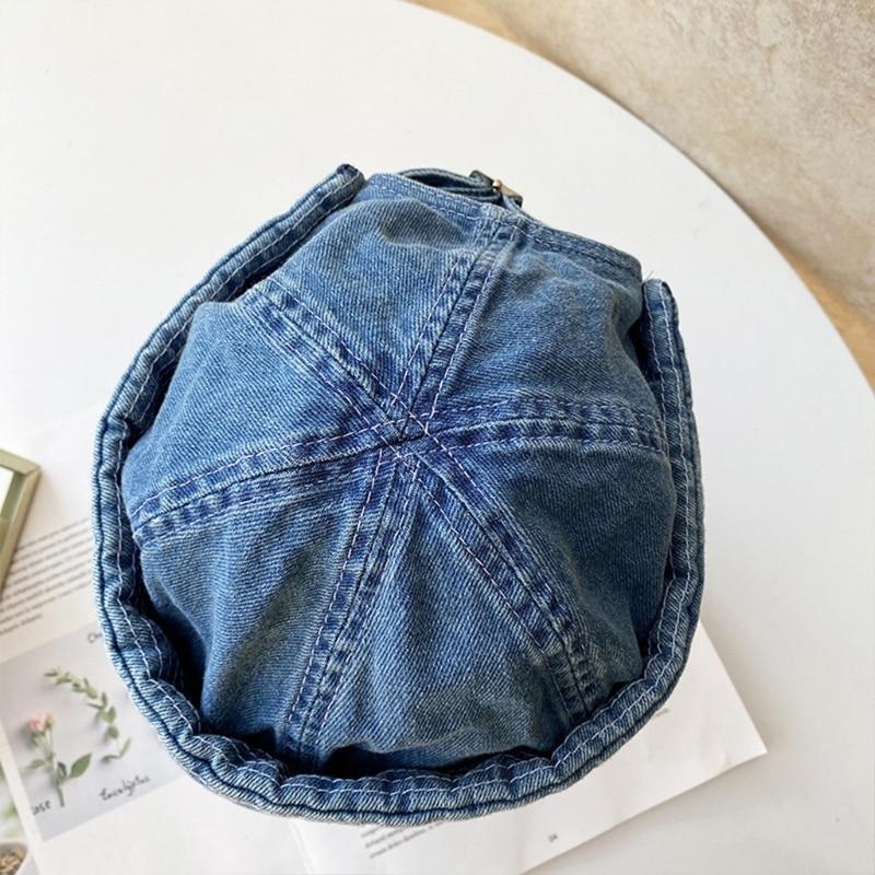 Men Retro Hip Hop Brimless Beanie Hat Letters Patch Sailor Docker Cap Streetwear Q1QA