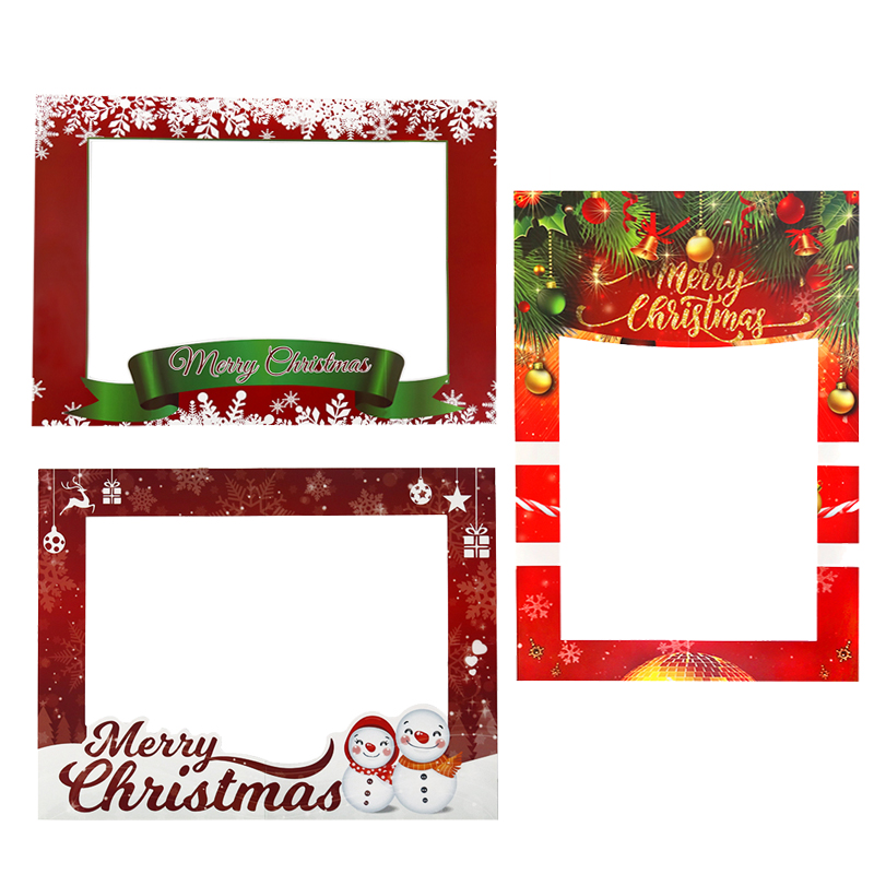 1pcs Merry Christmas Paper Photos Props Frame Navidad Kids Favors Xmas Party New Year Photobooth Booth Props Decoration Supplies