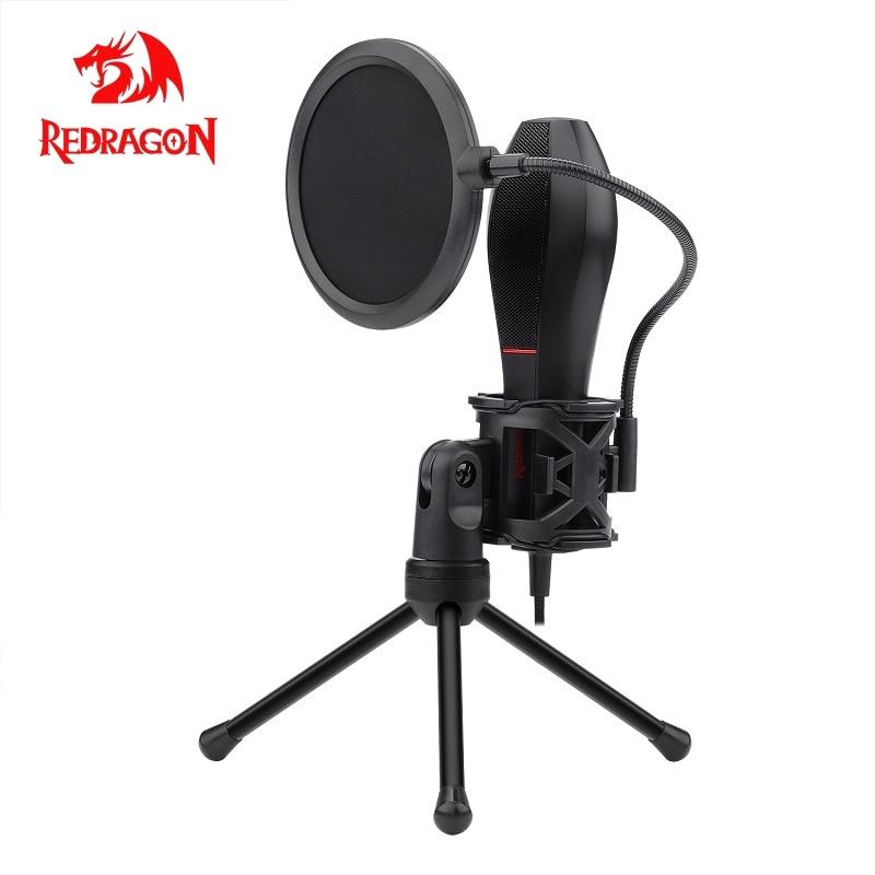 Micrófono de grabación de condensador USB Redragon Omni con trípode para computadora portátil, estudio cardioide, grabación de voz, voz en off