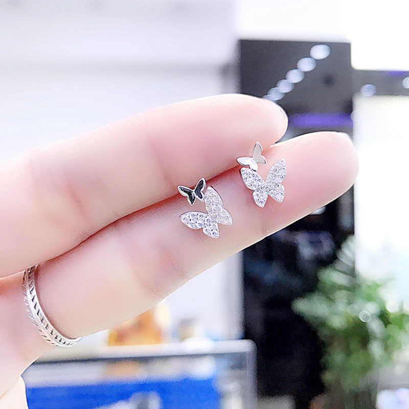 ANENJERY منع الحساسية 925 مجوهرات الفضة القياسية والزركونيوم فراشة أقراط للنساء فتاة هدية pendientes oorbellen S-E931