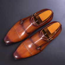 Genuine Leather Men Formal Shoes Handmade Brown Red Color Office Business Oxford Cap Toe Double Buckle Strap Italy Style Shoe
