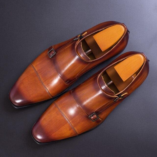 עור אמיתי גברים נעליים רשמיות בעבודת יד חום אדום צבע משרד עסקים אוקספורד כובע הבוהן כפול אבזם רצועת איטליה סגנון נעל