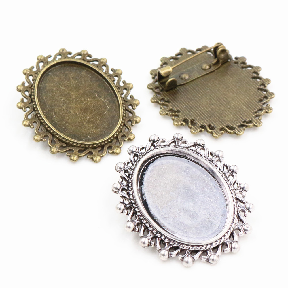 5pcs 18x25mm Inner Size Antique Silver Plated And Bronze Brooch Pin Classic Style Cameo Cabochon Base Setting