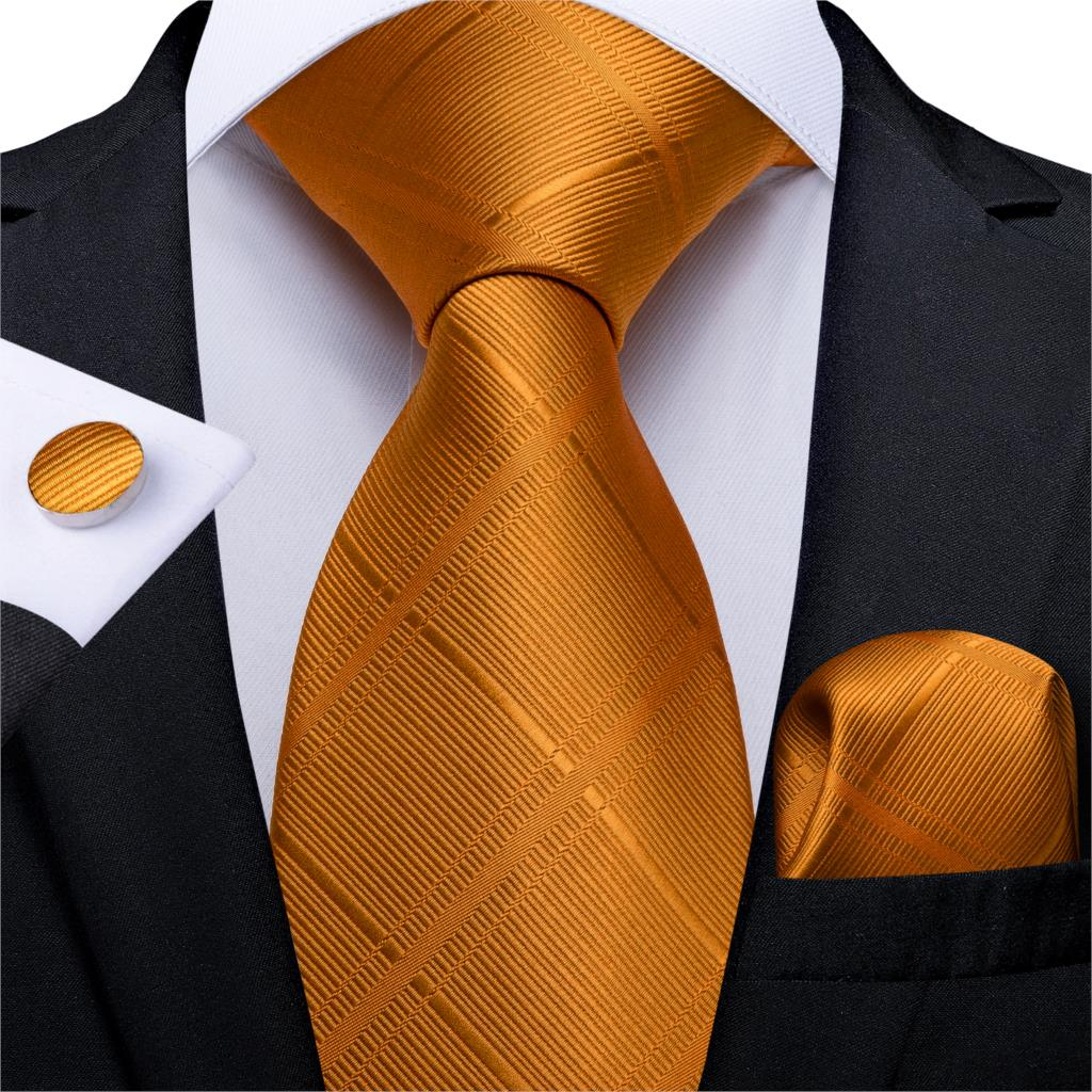 Gift Men Tie Orange Solid Silk Wedding Tie For Men DiBanGu Novelty Design Hanky Cufflink Quality Men Tie Set Business MJ-7323