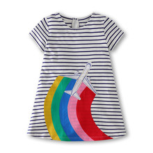 Rainbow Dresses Girls for Baby Summer Appliques Pure Cotton Children Clothing Striped Fashion Casual Kids Girls Dress miss haiwo fall kids dresses for girls pure cotton baby girl clothes stripes rainbow color girls long dress children s clothing