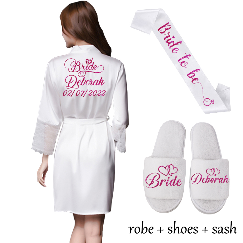 Lace Sleeve Sexy Women Nightwear Peignoir Mariage Wedding Kimono Chiffon Silk Female Bathrobes Bridemaid Robes Personalized Name