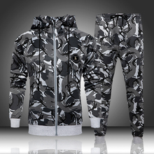 Camouflage Sweatshirts Jacket + Pants Sets Camo Men Tracksuit Hooded Outerwear Hoodie Set 2 Pieces Autumn Clothing Male Fitness
