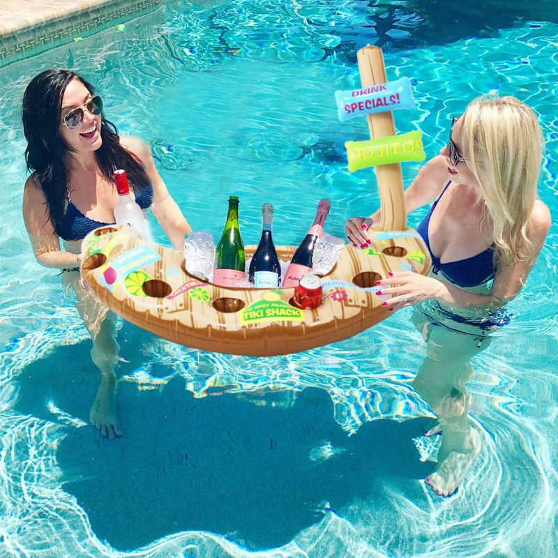 Inflatable Pool Boat Beer Ice Bucket Cooler Swimming Pool Float Inflatable Cup Holder Drink Holders Stand Bar Tray