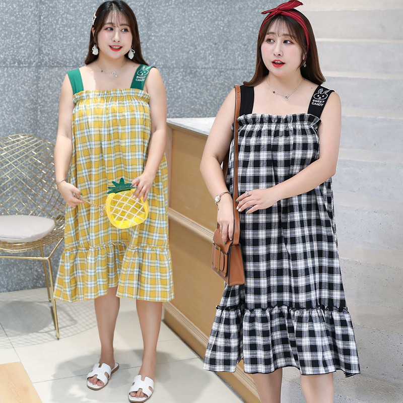 [Shi Ben Rocco] Summer Large GIRL'S Large Size Plaid Camisole Home Wear By Age Japanese-style Hipster Pajamas 6914