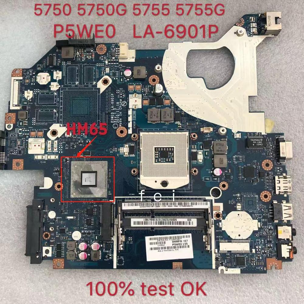 For Laptop Motherboard For ACER Aspire 5750 5750g 5755 5755g Laptop Motherboard P5WE0 LA-6901P  DDR3 100% Test OK