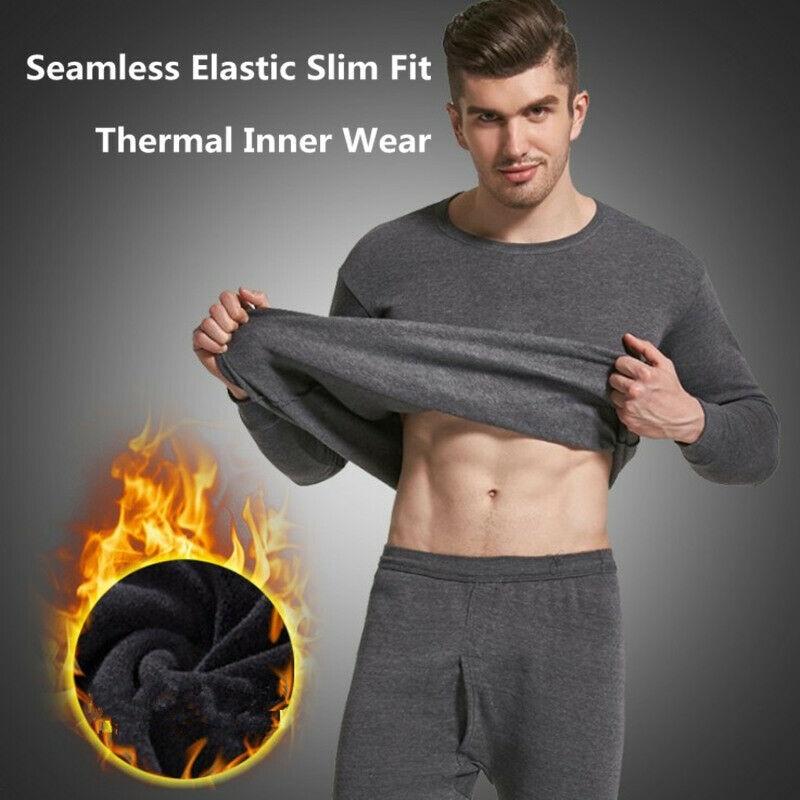 Men Seamless Elastic Warm Velvet Inner Wear Men Thick Thermal Clothing Underwear Sets Winter Clothes Warm Pajama Set