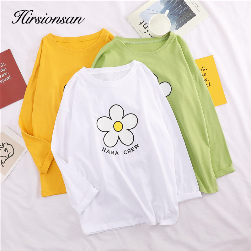 Hirsionsan <font><b>T</b></font> <font><b>Shirt</b></font> <font><b>Women</b></font> <font><b>2019</b></font> <font><b>Summer</b></font> <font><b>Flower</b></font> Printed Long Sleeve <font><b>T</b></font>-<font><b>shirts</b></font> Korean Cotton Simple <font><b>Harajuku</b></font> Fashion Kawaii Tops Tees image