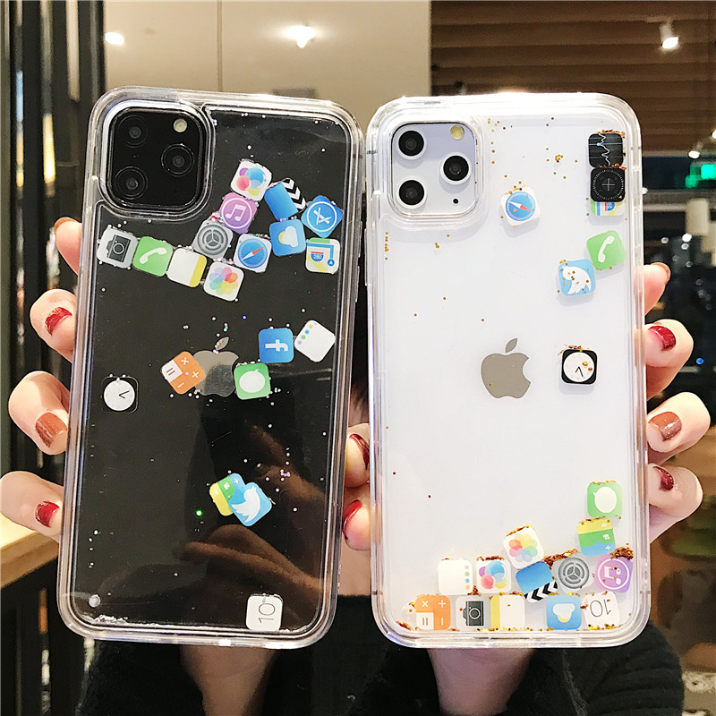 For iphone 11 11Pro Max Liquid Quicksand Phone Case For iPhone XR X XS MAX 6 6S 7 8 PLUS 3D APP Glitter Bling Transparent Cover image