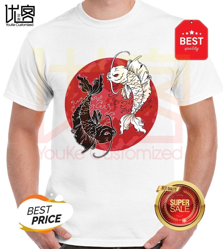Лидер продаж 2019, футболка из 100% хлопка с принтом Инь Ян, футболка в японском стиле с символами кои, рыбы, карпа, тайчи, летняя футболка|Футболки| | АлиЭкспресс