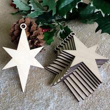 10Pcs New Christmas Durable Wooden Chip Snowman Elk Tree Shape Hanging Pendant  wall door furniture tree Decoration