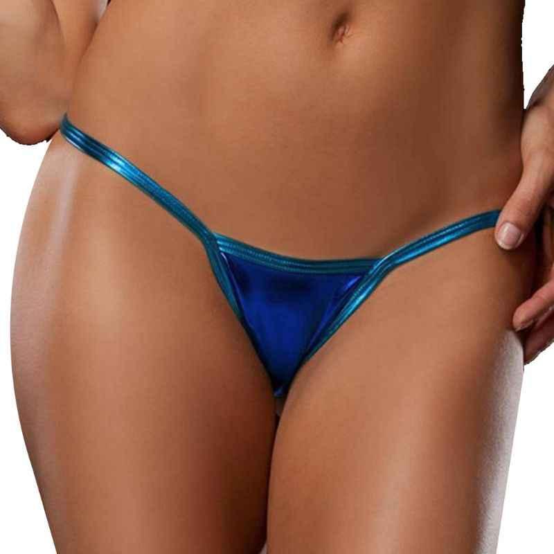 Womens Verleiding Laagbouw Glitter G-string Mini T-Back Thong Slipje Faux Leather Metallic Lingerie Night Club Slips Ondergoed