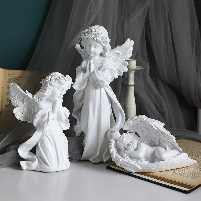 Статуэтка из смолы с ангелом, сказочные фигурки, аксессуары для украшения дома для гостиной, фигурки в европейском стиле, сувениры, рождеств...
