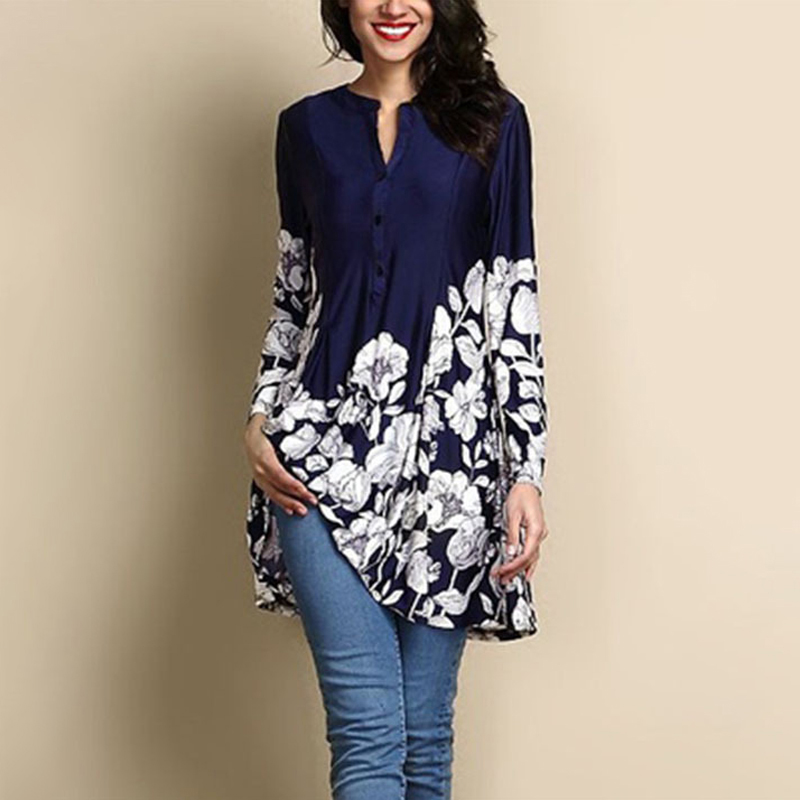 Plus size 4xl 5xl Muslim Women Boho Flower Print Bangladesh Black Tops Dubai Long Sleeve Shirt Casual Loose Islamic Clothes