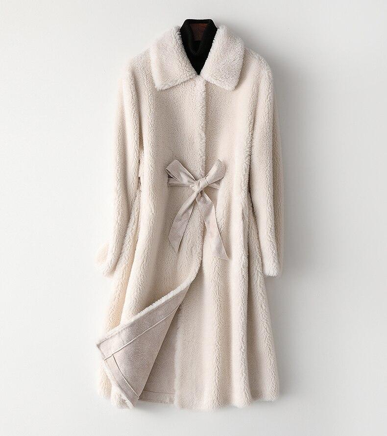Kobiety 2019 zima prawdziwe płaszcz z owczej wełny