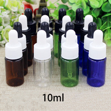 10ml Plastic Dropper Bottle Refillable Small Essential Oil Container Empty Mixing Perfume Bottles Green Brown Blue Free Shipping