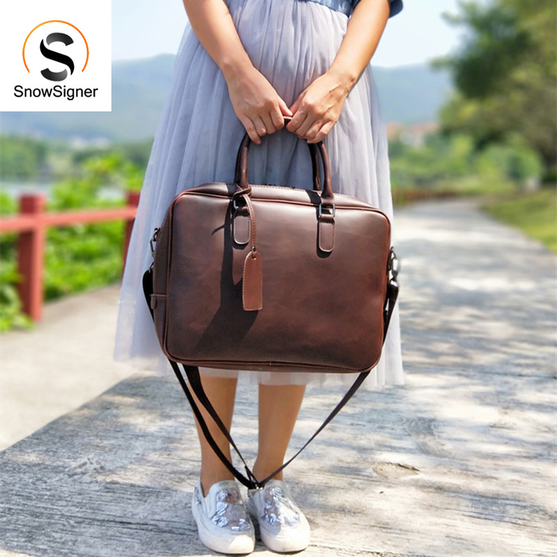 Vintage Simple Style Bag Horizontal Literary Women Leather Handbag Big 14