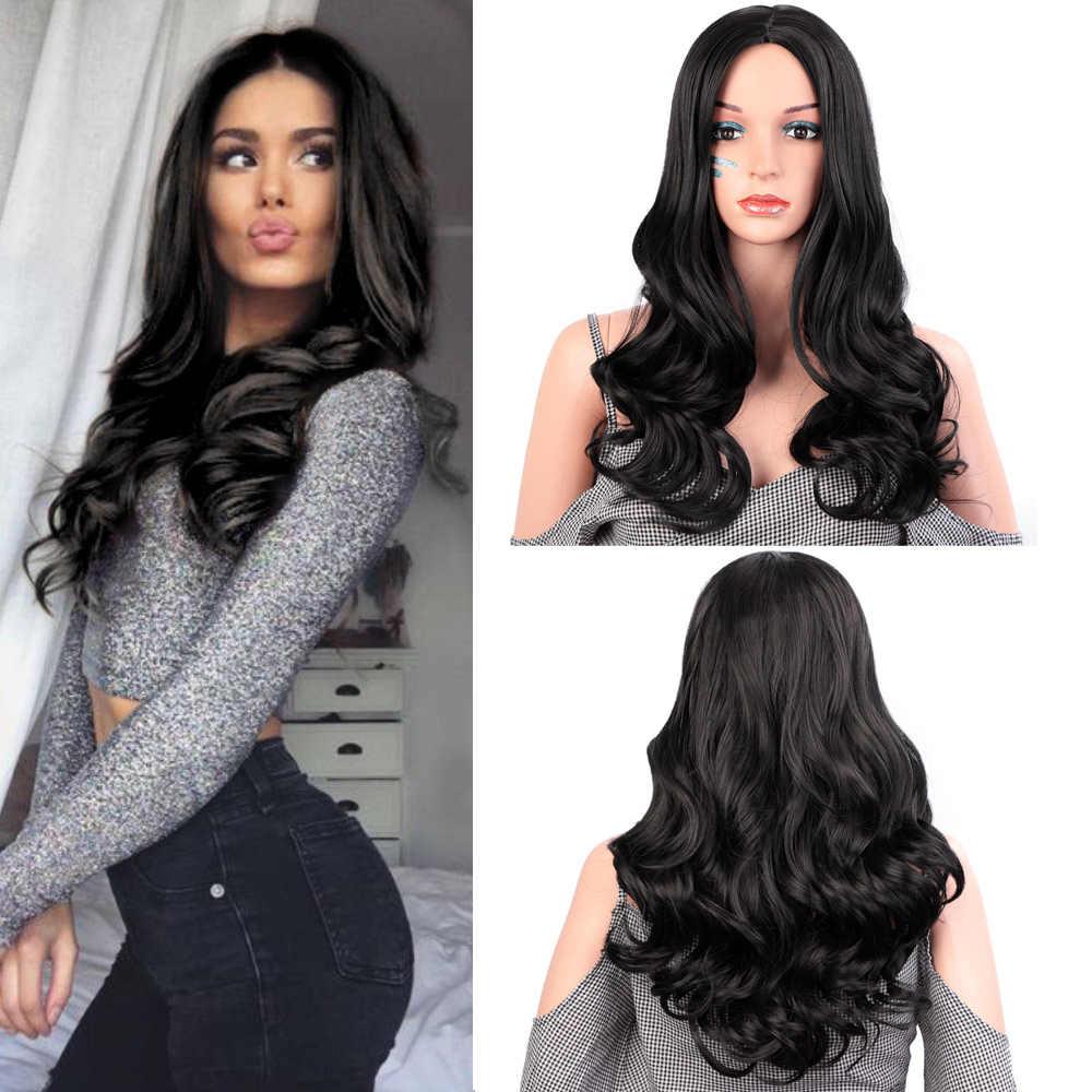 Damgalı muhteşem doğal dalga peruk Ombre siyah kahverengi peruk sentetik uzun peruk kadınlar için orta kısmı ısıya dayanıklı iplik saç