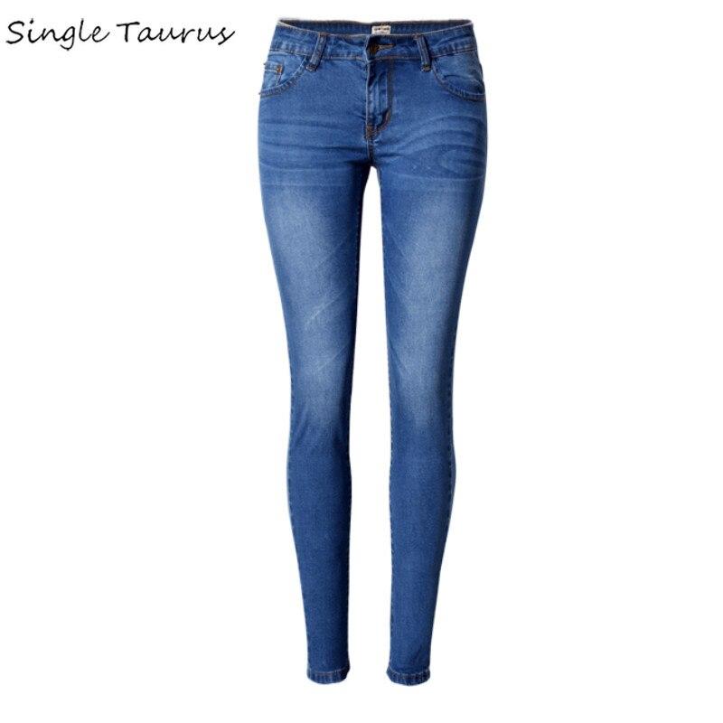 2020 New Low Waist Elasticity Skinny Jeans Femme Vintage Bleached Plus Size Push Up Jean Women Fashion Cotton Blue Pencil Demin