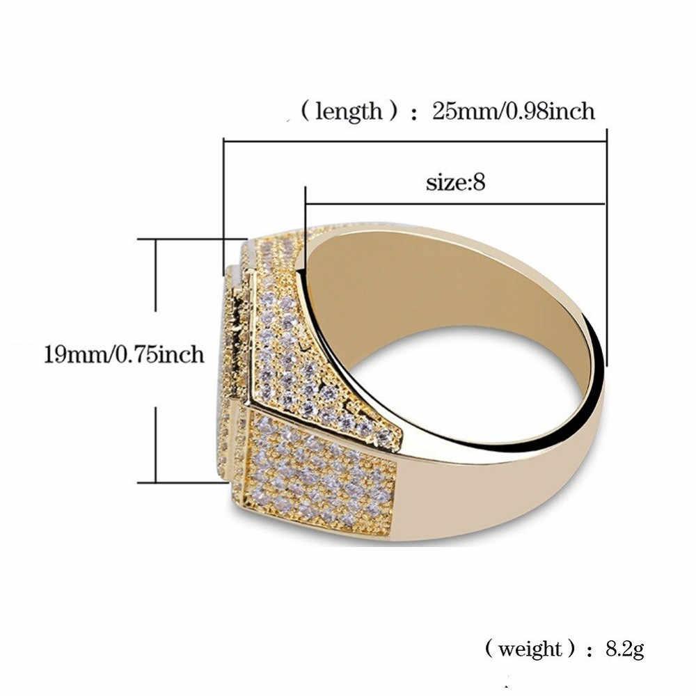 Hip Hopแฟชั่นผู้ชายแหวนทองแดงGold SilverสีIced Out Bling Pave Cubic Zirconiaเรขาคณิตแหวนผู้ชายครบรอบCharmsของขวัญ