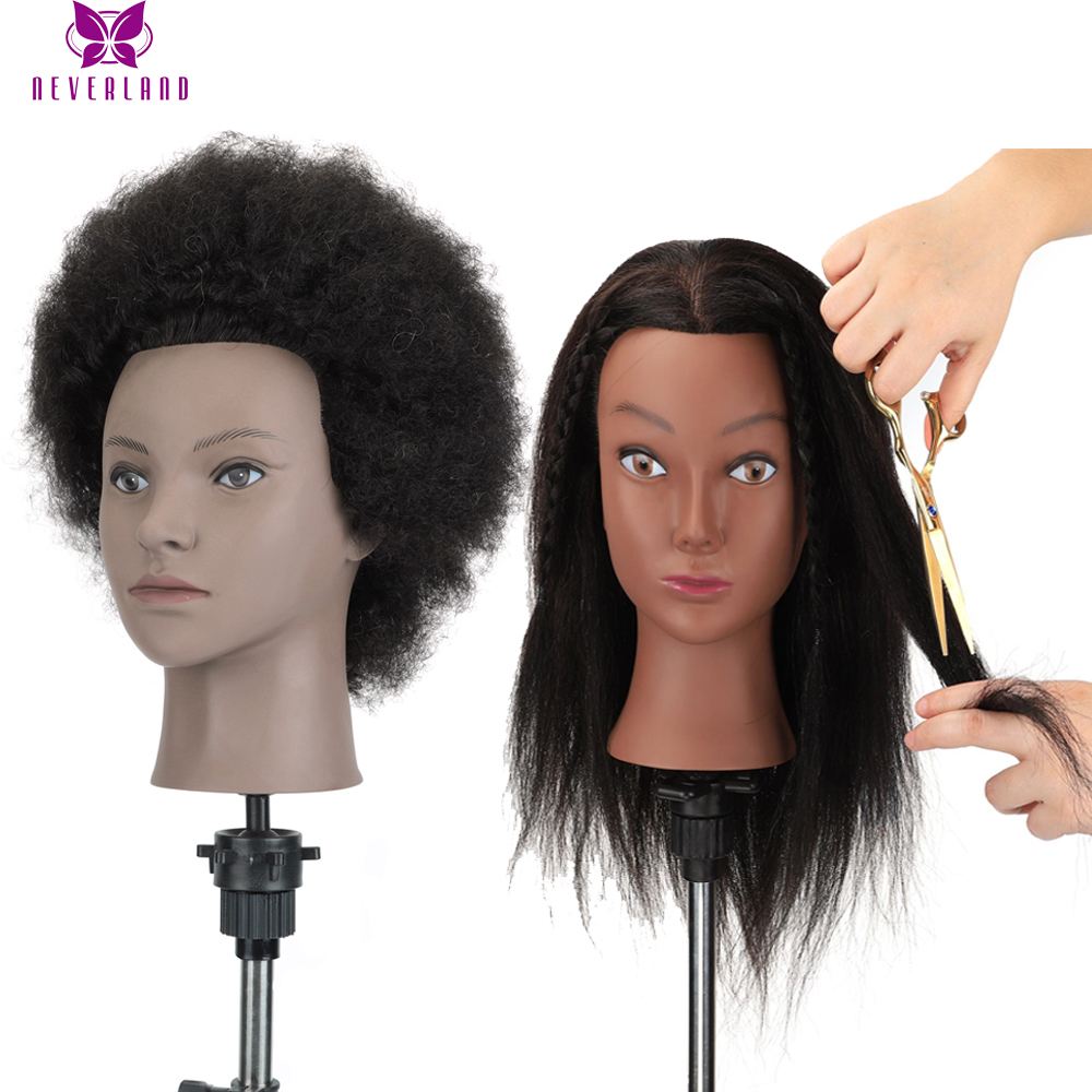 Afro Training Heads Cosmetology Mannequin Training Head human Hair fo head Hairdressing Practice Manikin Head with Clamp