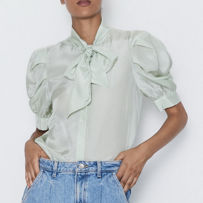 Personality Organza Shirt Blouse Summer 2019 New Fashion Bow Collar Puff Sleeve Modern Lady Shirts Preppy Tops Blouse