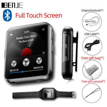 BENJIE K1 Full Touch Screen Bluetooth MP3 Player Portable Audio 8GB 16GB Mini Clip Music With FM Radio,Recorder,E-Book
