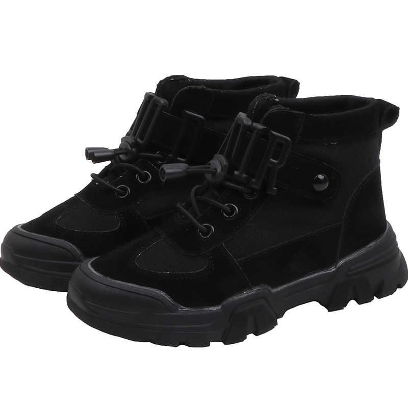 ULKNN çocuk sansar ayakkabı kız ve erkek yüksek top falts ayakkabı çocuklar okul öğrencileri siyah pembe sıcak ayakkabı