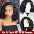 Бразильские вьющиеся короткие человеческие волосы, парик для чернокожих женщин SVT 13x4, кружевные передние парики, дешевые кудрявые волосы с ...