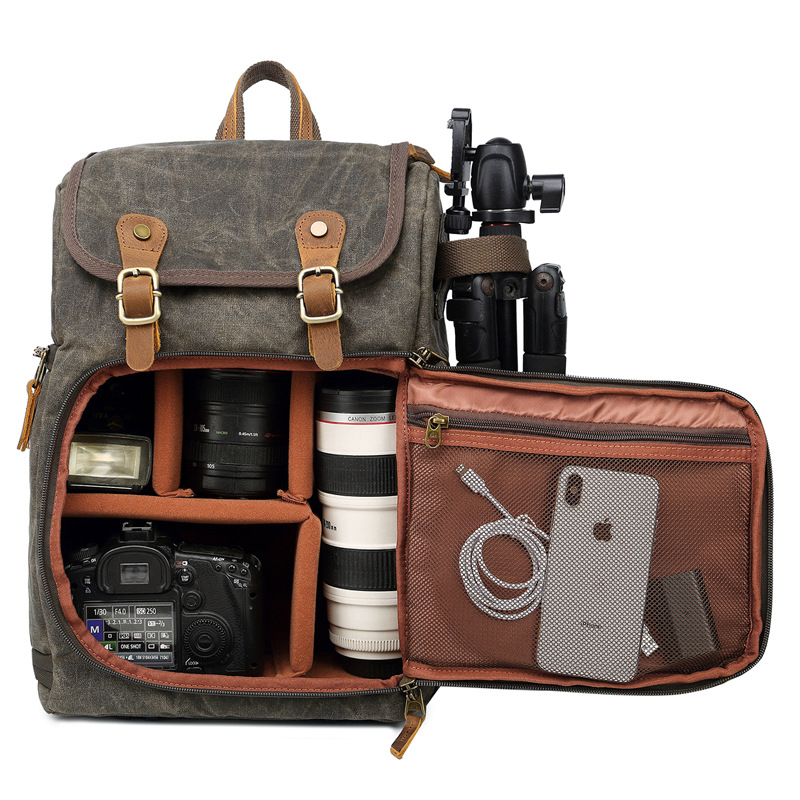 Waitousanqi Stylish Outdoor Travel SLR Backpack Retro Canvas Backpack to Contain 15.4-inch Camera Lens Accessories Large-Capacity Backpack A15