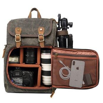 Camera Backpack Canvas SLR DSLR Camera Bag Vintage Backpack Large Capacity Front Open Waterproof Anti-Shock for Canon Nikon Fuji