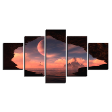 Wall Art Canvas Painting HD Print Home Decor Pictures 5 Pieces Planet In The Sky Outside Hole Cave Entrance Poster Modular Frame
