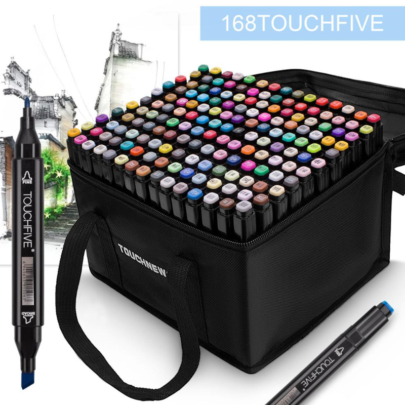 TouchFive Art Marker Pen 80 Color Alcohol Ink Sketch 80 Color Ink Pen, Comic Animation Art Supplies For Artist Drawing Markers