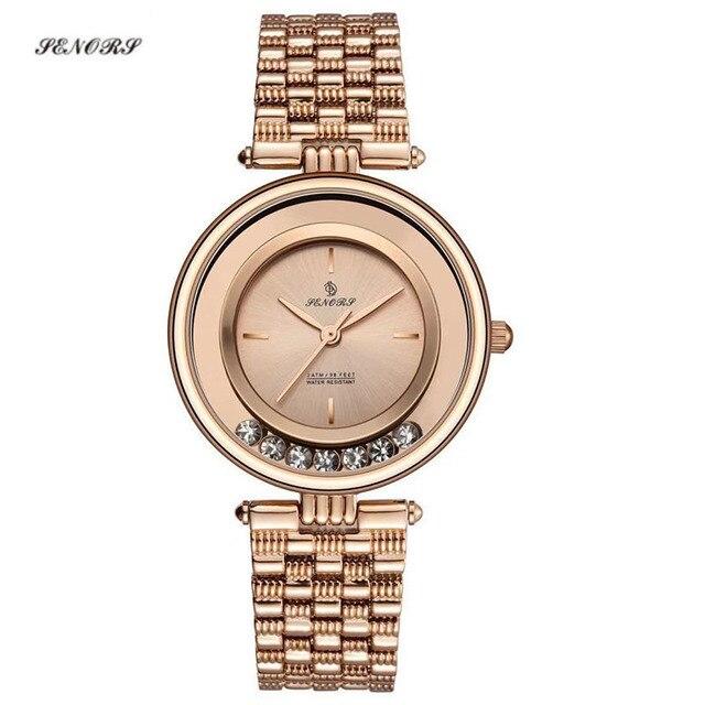 SENORS Gioielli orologio da polso impermeabile di modo semplice delle signore della vigilanza del quarzo delle donne orologi saat delle donne orologi da polso orologio ore