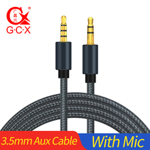 купить 1m Nylon AUX Cable with Mic Male to Male 3.5mm Jack to 3.5 mm Audio Cable For Samsung S10 Car Headphone  Speaker Wire Cord дешево