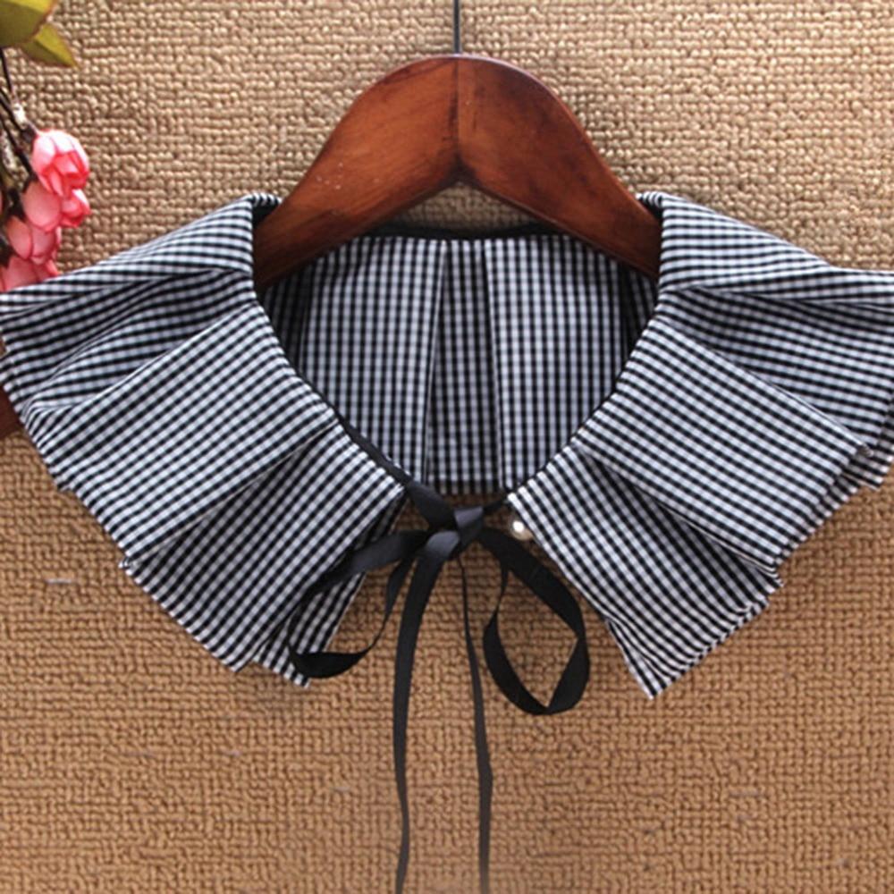 Fake Collar Women Cotton Grid Detachable Collar False Collar Lapel Blouse Ladies Clothes Accessories Valse Kraag Collar Falso