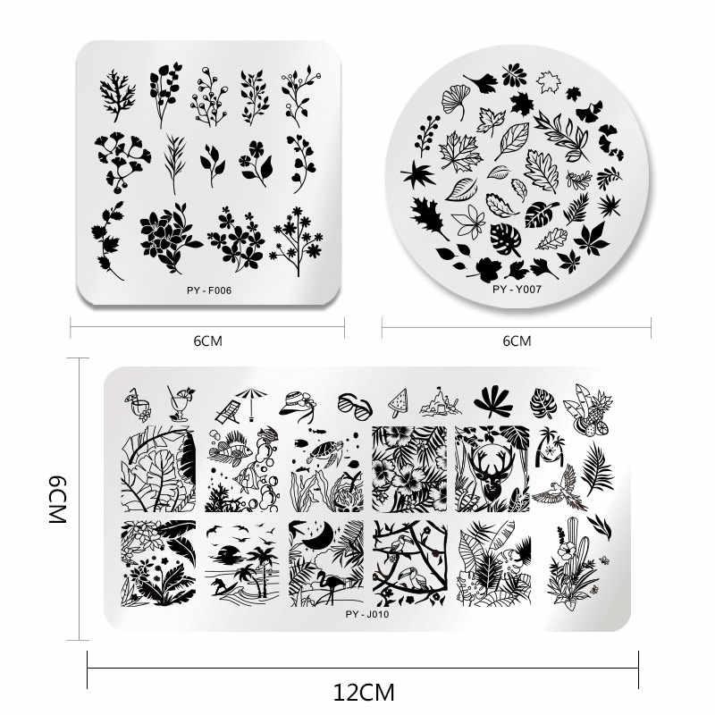 PICT YOU estampado placas Kits rayas línea flores sello placa geometría Tropical encaje Halloween calabaza uñas imagen placa