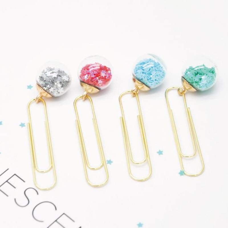 10 Pcs/set Cute Star Glass Ball Pendant Metal Paper Clips Bookmarks Notes Letter Photo Memo Binder Clips Stationery Gifts