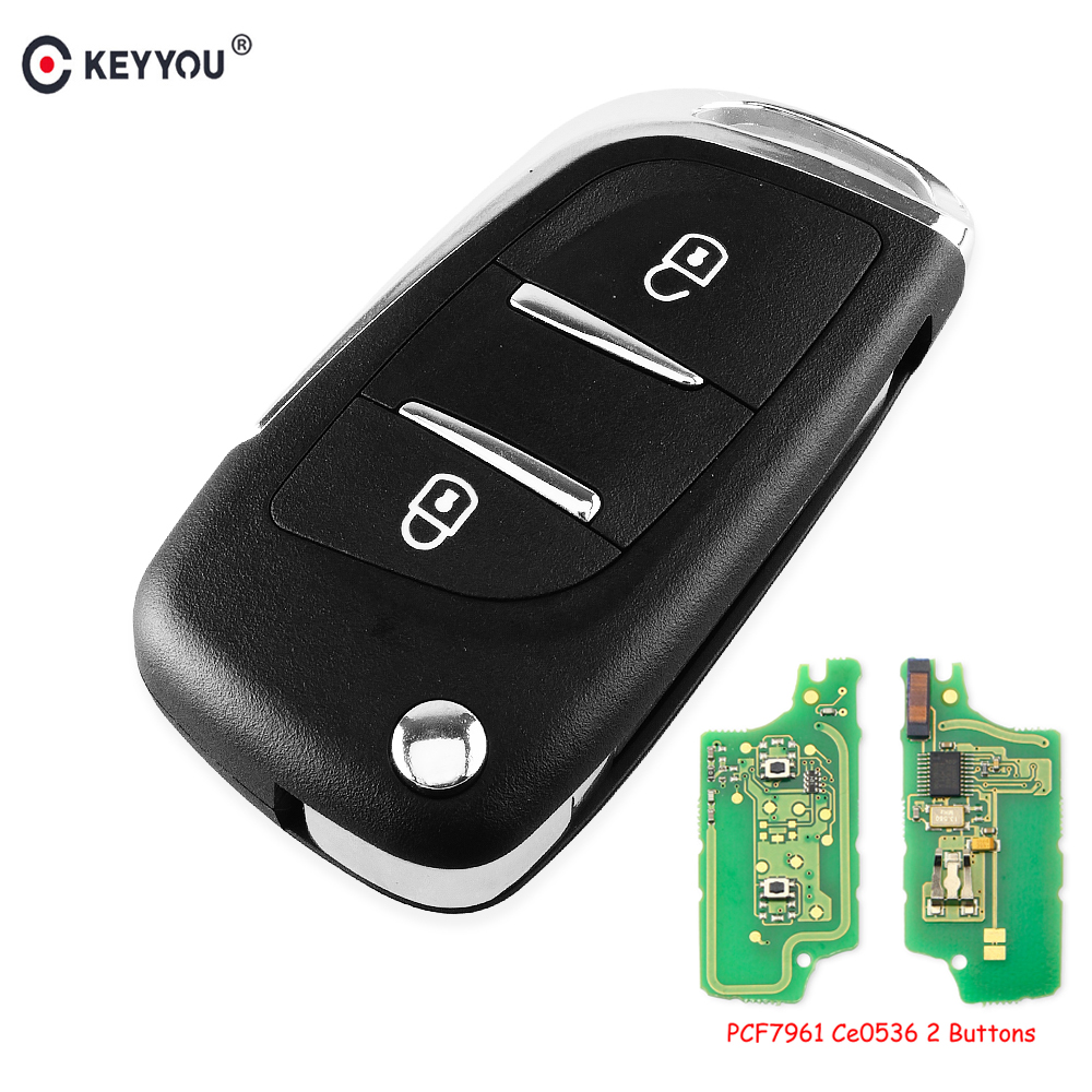 KEYYOU 433MHz ASK Modified Flip <font><b>Remote</b></font> Car <font><b>Key</b></font> for <font><b>PEUGEOT</b></font> 207 <font><b>208</b></font> 307 308 408 Partner CE0536 VA2 ID46 PCF7961 Chip 2 BTN <font><b>Key</b></font> image