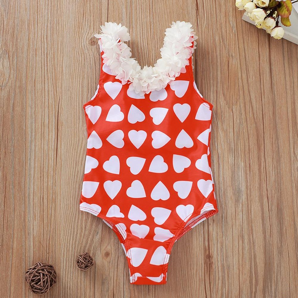Heart-Shaped Print Beach One-piece Swimwear For Girls Summer Swimwear Lace Vest Baby Girls Bikini Swimsuit Girl Swimwear #20
