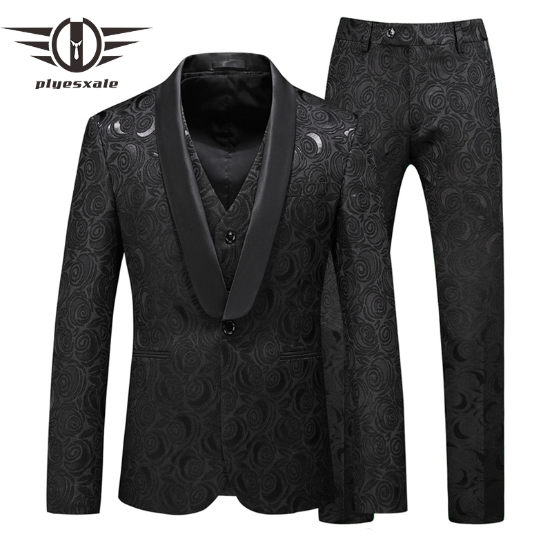 Plyesxale Black Floral Jacquard Suit Men 2020 Spring Autumn Latest Wedding Suits For Groom 5XL Three Piece Stage Prom Suit Q954