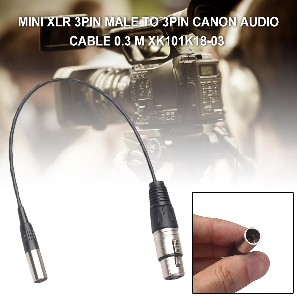 MINI XLR Male To Female Canon Audio Cable 0.3M For Various Cameras For Blackmagic Pocket Cinema 4k Cable Audio Camera(China)