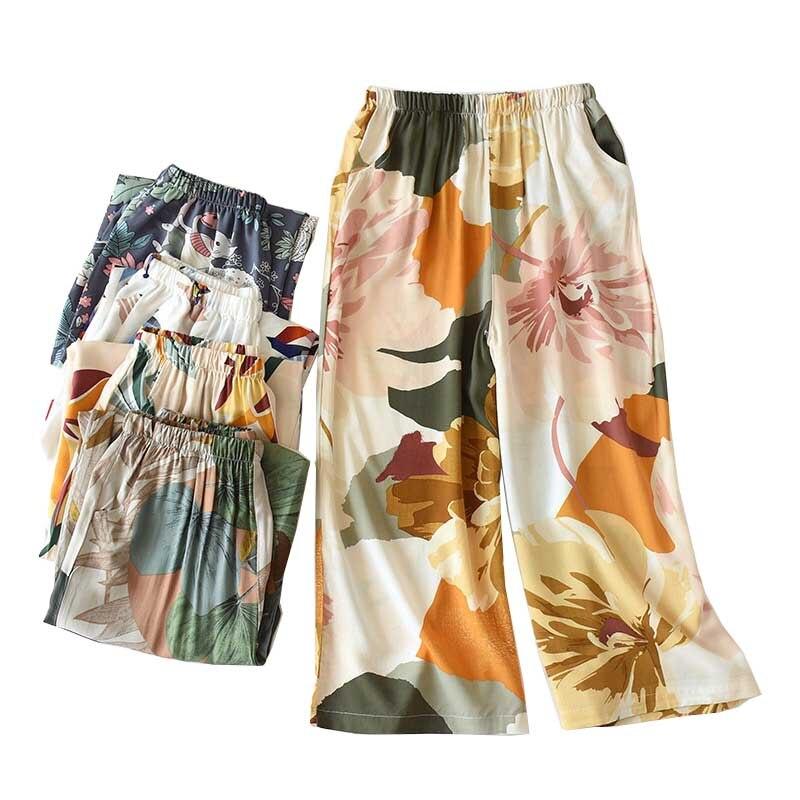 2020 Summer Ladies Loose Sleep Bottoms Leaves Printed Soft Cotton Satin Simple Style Wide Leg Homewear Pants Women Casual Wear