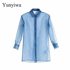 2019 Women's Organza Long Transparent Shirt Womens Blouse Vintage Party Shirts Tops Clothing Blusas Mujer