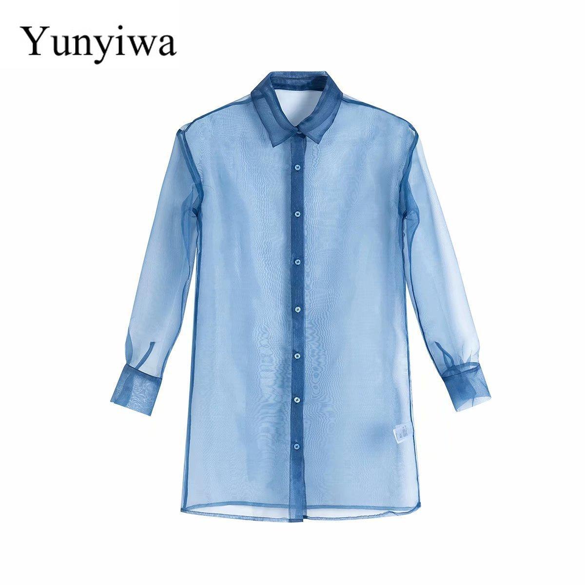 2020 Women's Organza Long Transparent Shirt Womens Blouse Vintage Party Shirts Tops Clothing Blusas Mujer