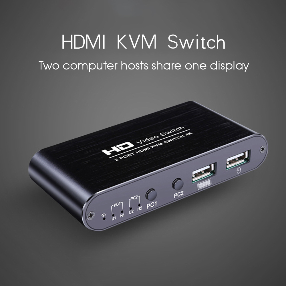 Kebidumei 2 Porte HDMI Switch KVM 4K x 2K Ultra HD USB HDMI KVM Switcher Splitter 2 in 1 fuori Per Doppio Display Dello Schermo Tastiera Mouse